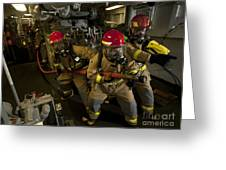 Firemen Combat A Simulated Fire Aboard Greeting Card