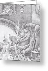 Fireside Companion Greeting Card by Canis Canon