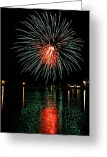 Fireworks Of Green And Red Greeting Card