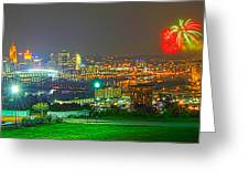 Fireworks Over The City Skyline Greeting Card