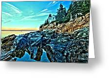 First Light At Bass Harbor Greeting Card