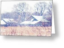 First Snow. Village Greeting Card