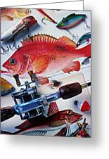 Fish Bookplates And Tackle Greeting Card by Garry Gay