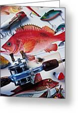 Fish Bookplates And Tackle Greeting Card