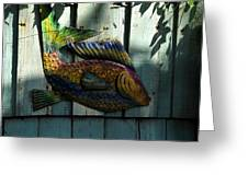 Fish On Fence Greeting Card