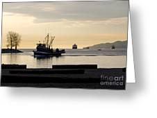 Fisherman Home Returning To Port From The Inside Passage Vancouver Bc Canada Greeting Card by Andy Smy