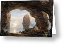 Fisherman In A Grotto Helgoland Greeting Card by Christian Ernst Bernhard Morgenstern