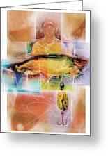 Fisherman With Fish Greeting Card