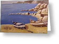 Fisherman's Boats Greeting Card by Debra Piro