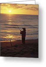 Fishing At Sunrise Greeting Card by Raymond Gehman