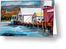 Fishing Boat And Dock Watercolor Greeting Card