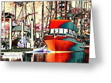Fishing Boat In Harbor Greeting Card