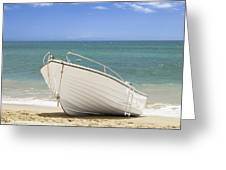 Fishing Boat On The Beach Greeting Card
