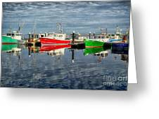 Fishing Boat Reflections At Macmillan Pier In Provincetown Cape  Greeting Card