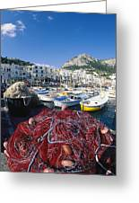 Fishing Boats And Nets In The Marina Greeting Card