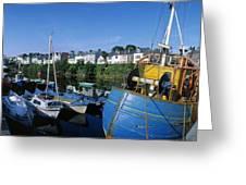 Fishing Boats At A Harbor, Roundstone Greeting Card