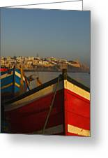 Fishing Boats In Front Of Kasbah Des Greeting Card by Axiom Photographic