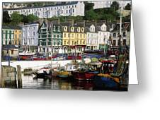 Fishing Boats Moored At A Harbor, Cobh Greeting Card