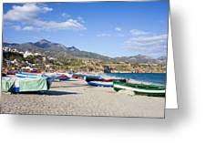 Fishing Boats On A Beach In Spain Greeting Card