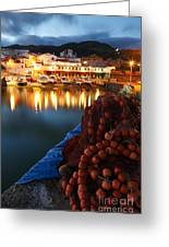 Fishing Harbour At Dusk Greeting Card