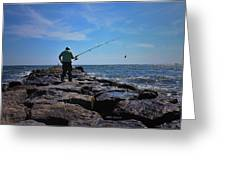 Fishing Off Of The Jetty Greeting Card