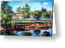 Fishing On The Canal Greeting Card
