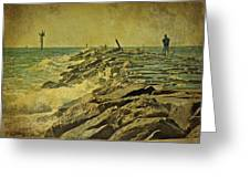Fishing The Jetty - Island Beach State Park   Nj Greeting Card