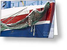 Fishing Vessel In Winter's Rest Greeting Card