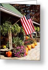Flag Among The Pumpkins Greeting Card