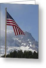 Flag And The Mountain Greeting Card