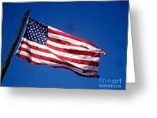 Flag On The Ladder Greeting Card