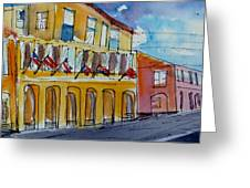 Flags On The Buildings Greeting Card