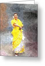 Flamenco Dancer In Yellow Greeting Card