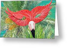 Flamingo Mask 2 Greeting Card