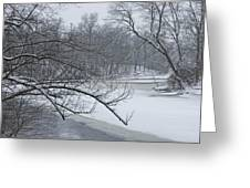 Flat River In Winter No.026 Greeting Card