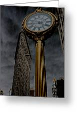 Flatiron Building And Clock Greeting Card