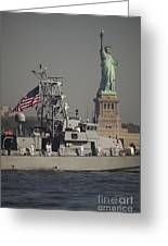 Fleet Week Vessels Pass By The Statue Greeting Card