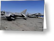Flight Deck Personnel Reposition Av-8b Greeting Card