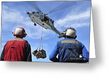 Flight Deck Personnel Wait For Supplies Greeting Card