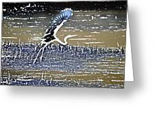 Flight Of The Egret V5 Greeting Card
