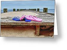 Flip Flops On The Dock Greeting Card
