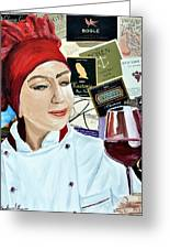 Flo Enjoys A Glass Of Wine Greeting Card