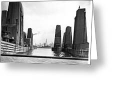 Floating Grain Elevators In Ny Greeting Card