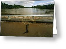 Flood Waters Rise To Meet A Bridge Greeting Card by Randy Olson