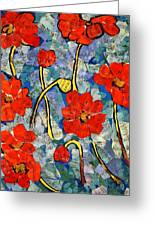 Floral Art - Red Poppies Greeting Card