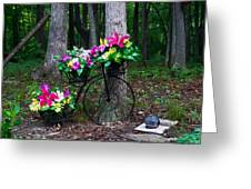 Floral Bicycle On A Cloudy Day Greeting Card
