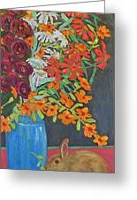 Floral Bouquet And Bunny Greeting Card by Susan  Spohn