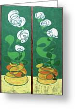 Floral Diptych In Green And Orange Greeting Card