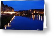 Florence Arno River Night Greeting Card