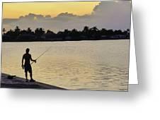 Florida Fishing At Sunset Greeting Card
